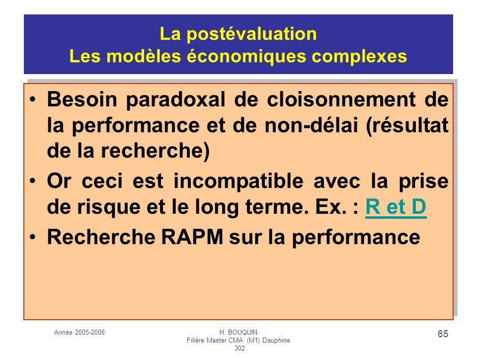 Année 2005-2006H. BOUQUIN Filière Master CMA (M1) Dauphine 302 65 La postévaluation Les modèles économiques complexes Besoin paradoxal de cloisonnemen