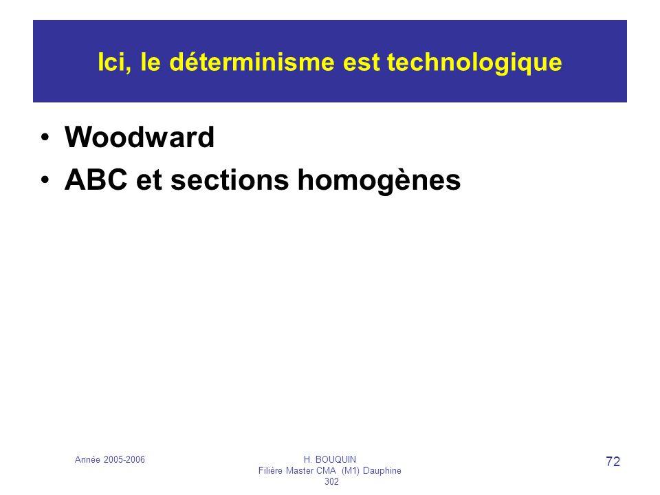 Année 2005-2006H. BOUQUIN Filière Master CMA (M1) Dauphine 302 72 Ici, le déterminisme est technologique Woodward ABC et sections homogènes