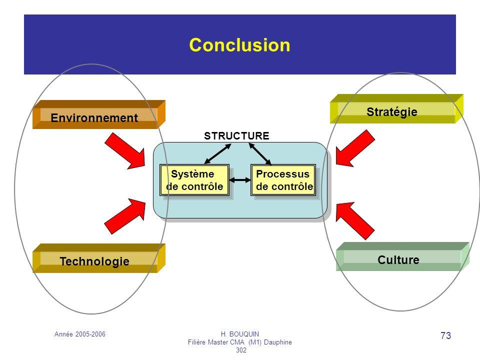 Année 2005-2006H. BOUQUIN Filière Master CMA (M1) Dauphine 302 73 Conclusion Environnement Technologie Système de contrôle Système de contrôle Process
