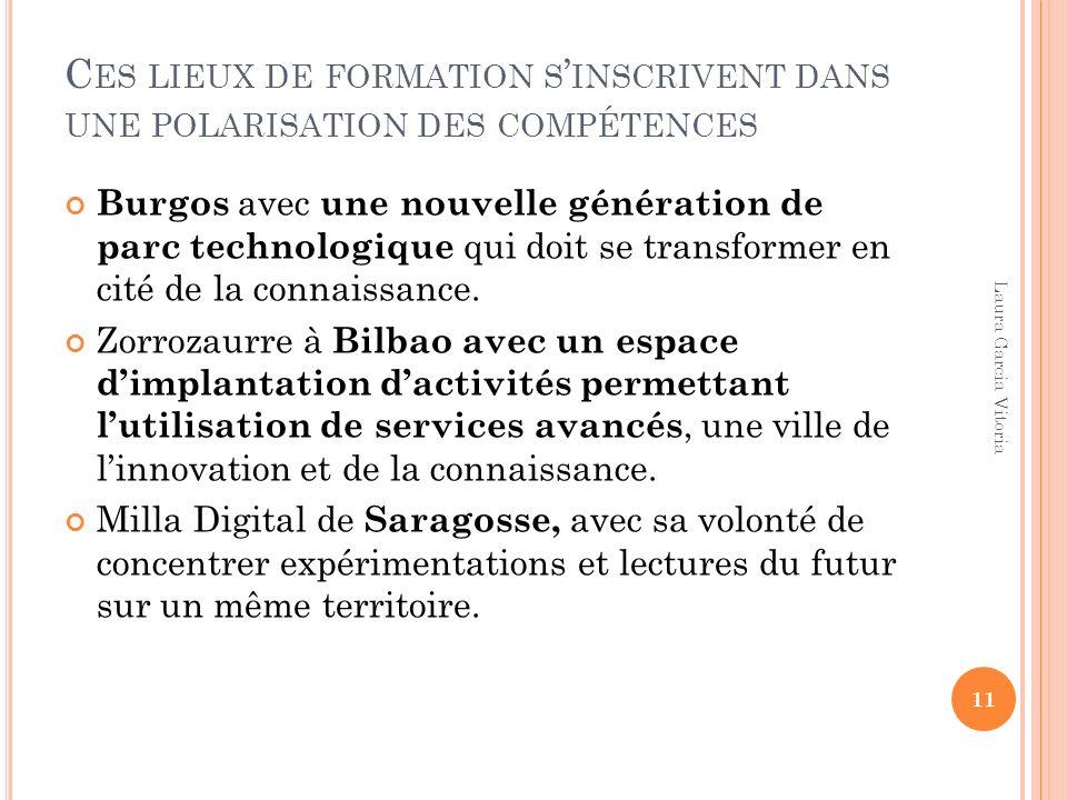 C ES LIEUX DE FORMATION S INSCRIVENT DANS UNE POLARISATION DES COMPÉTENCES Burgos avec une nouvelle génération de parc technologique qui doit se transformer en cité de la connaissance.