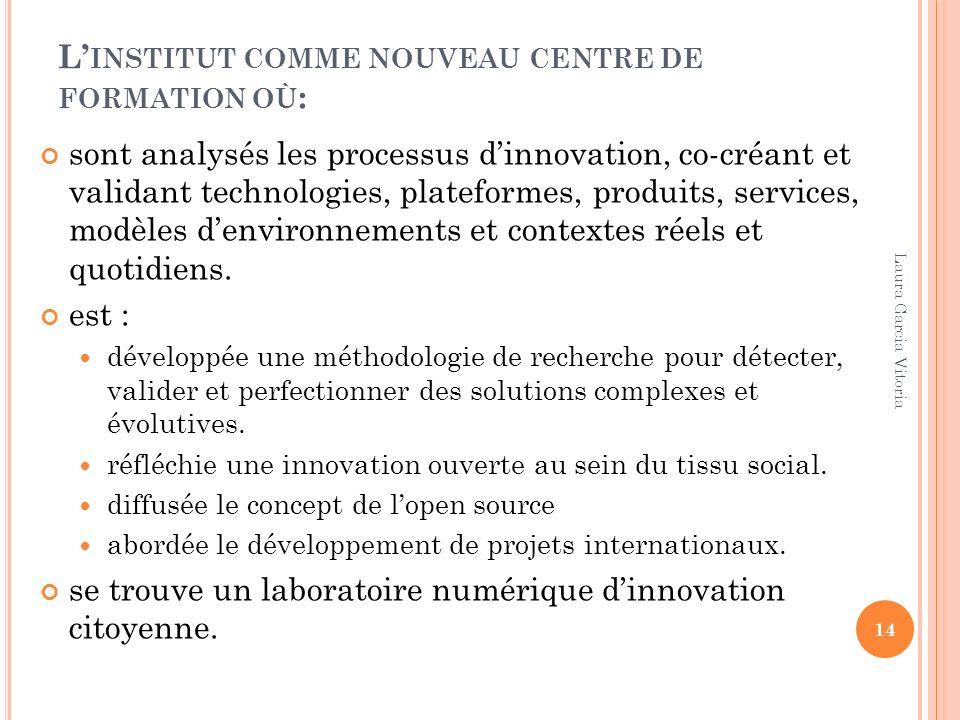 L INSTITUT COMME NOUVEAU CENTRE DE FORMATION OÙ : sont analysés les processus dinnovation, co-créant et validant technologies, plateformes, produits,