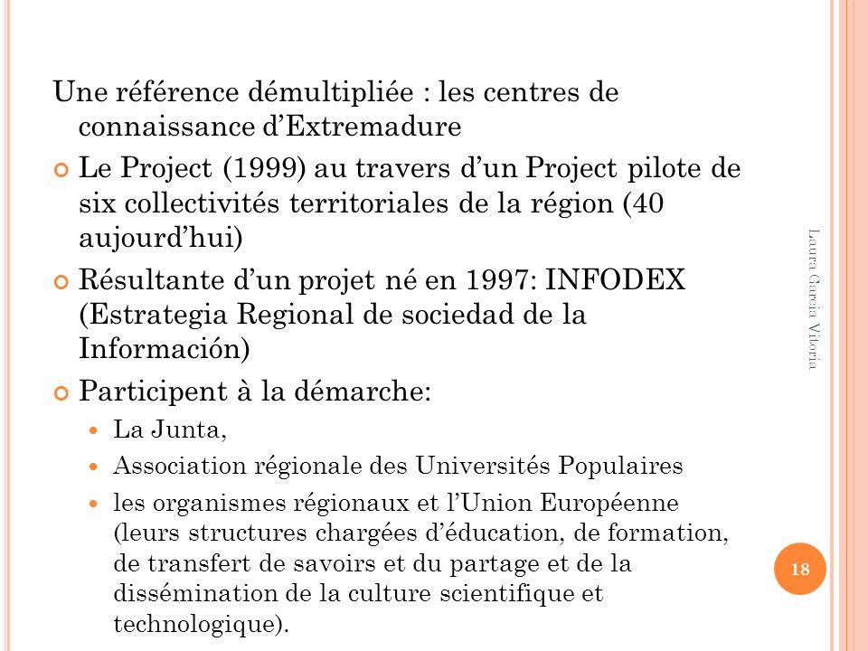 Une référence démultipliée : les centres de connaissance dExtremadure Le Project (1999) au travers dun Project pilote de six collectivités territorial