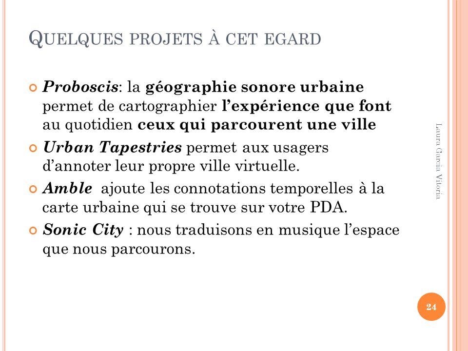 Q UELQUES PROJETS À CET EGARD Proboscis : la géographie sonore urbaine permet de cartographier lexpérience que font au quotidien ceux qui parcourent u