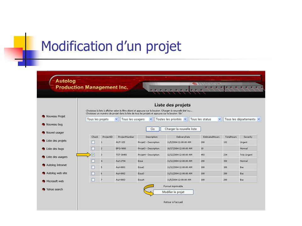 Modification dun projet