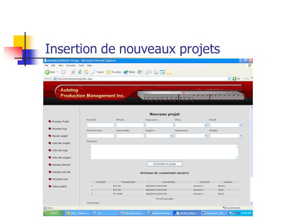 Insertion de nouveaux projets