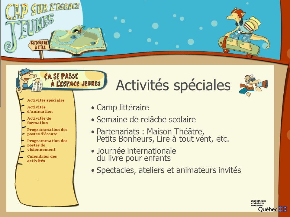 Camp littéraire Semaine de relâche scolaire Partenariats : Maison Théâtre, Petits Bonheurs, Lire à tout vent, etc.