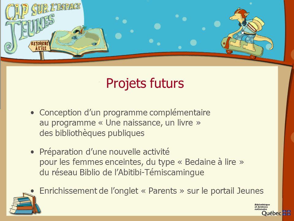 Projets futurs Conception dun programme complémentaire au programme « Une naissance, un livre » des bibliothèques publiques Préparation dune nouvelle activité pour les femmes enceintes, du type « Bedaine à lire » du réseau Biblio de lAbitibi-Témiscamingue Enrichissement de longlet « Parents » sur le portail Jeunes