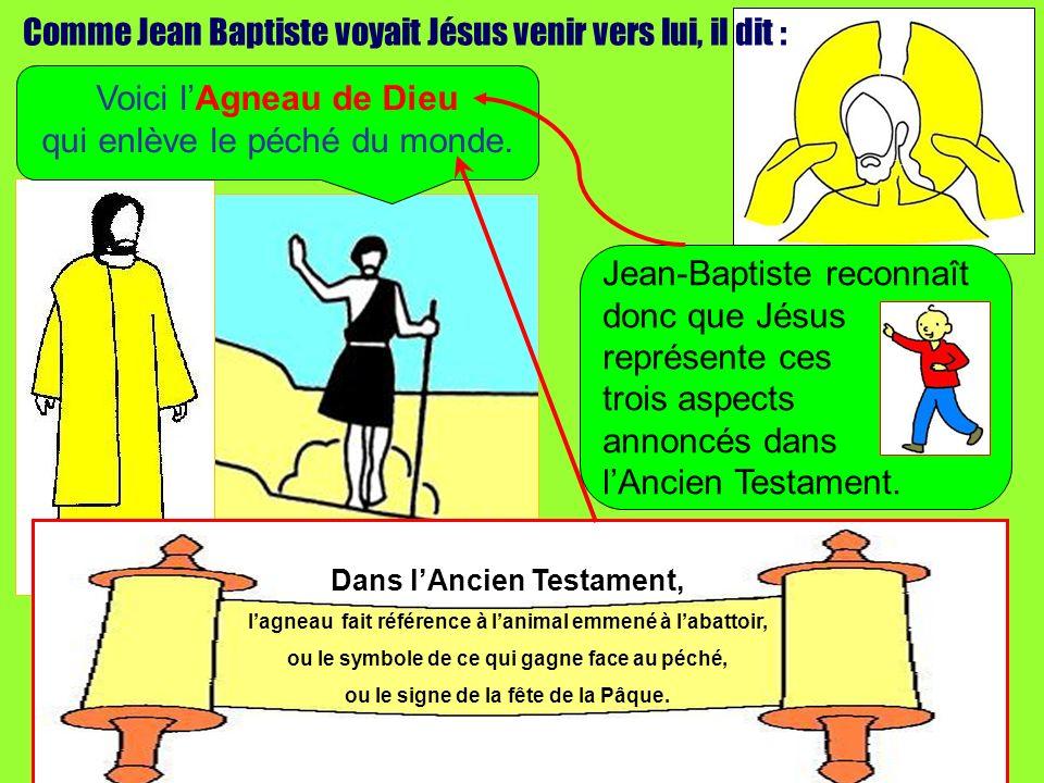 Comme Jean Baptiste voyait Jésus venir vers lui, il dit : Voici lAgneau de Dieu qui enlève le péché du monde. Dans lAncien Testament, lagneau fait réf