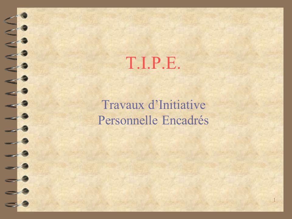 1 T.I.P.E. Travaux dInitiative Personnelle Encadrés