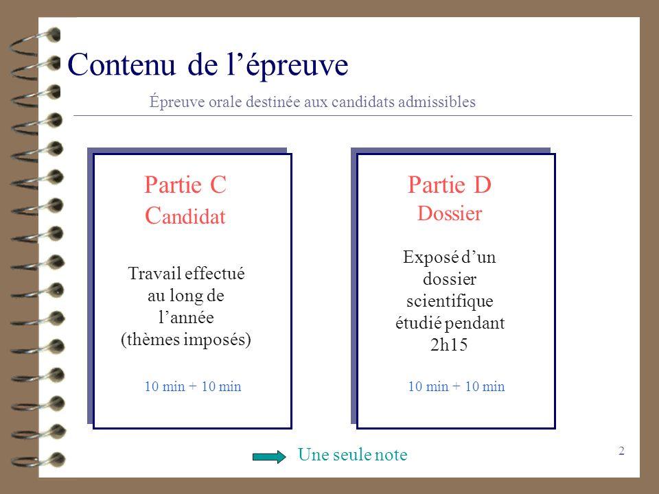 2 Contenu de lépreuve Épreuve orale destinée aux candidats admissibles Partie C C andidat Travail effectué au long de lannée (thèmes imposés) 10 min +