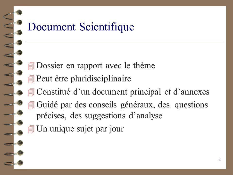 4 Document Scientifique 4 Dossier en rapport avec le thème 4 Peut être pluridisciplinaire 4 Constitué dun document principal et dannexes 4 Guidé par d
