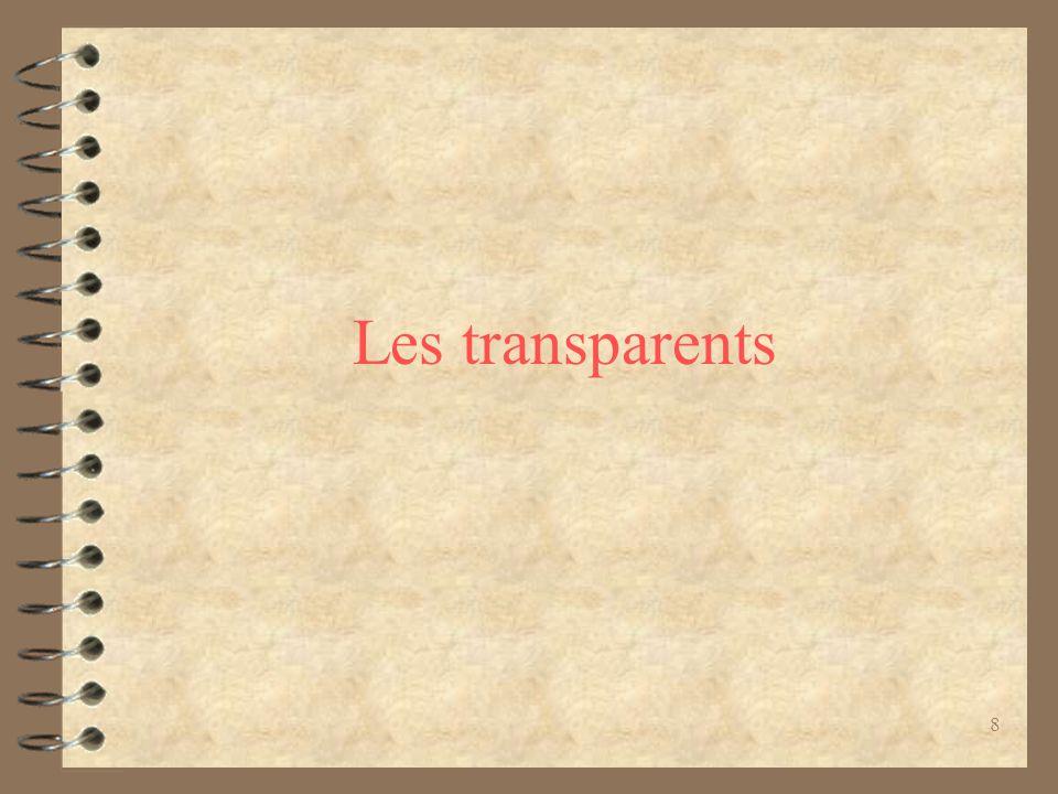 8 Les transparents