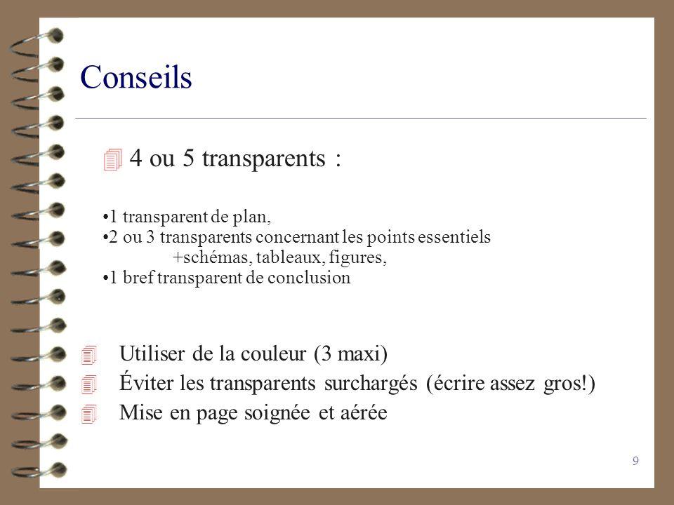 9 Conseils 4 Utiliser de la couleur (3 maxi) 4 Éviter les transparents surchargés (écrire assez gros!) 4 Mise en page soignée et aérée 4 4 ou 5 transp