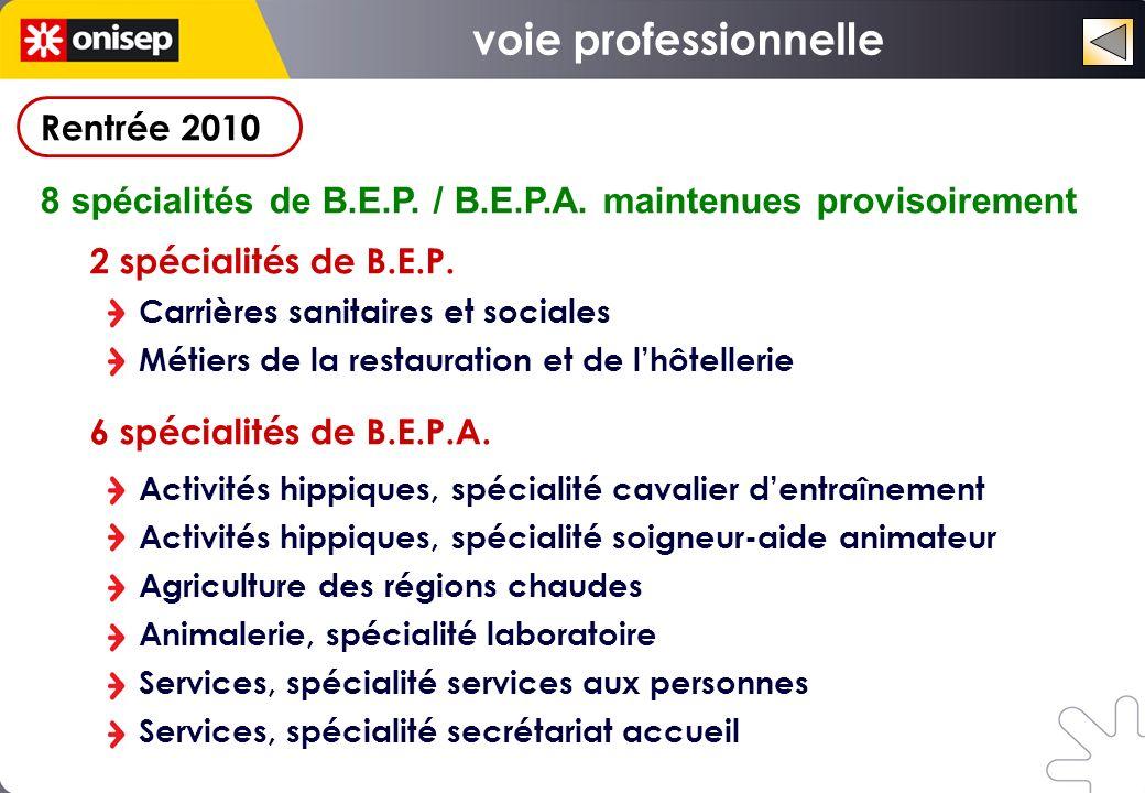 Rentrée 2010 8 spécialités de B.E.P. / B.E.P.A. maintenues provisoirement 2 spécialités de B.E.P. Carrières sanitaires et sociales Métiers de la resta