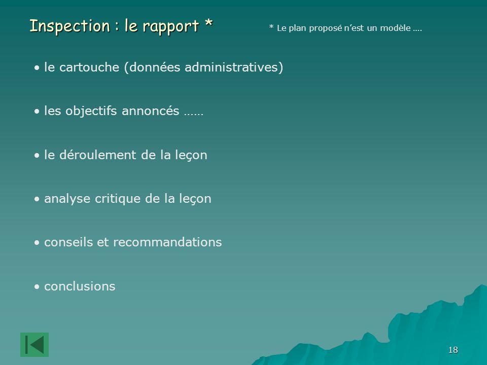 18 Inspection : le rapport * * Le plan proposé nest un modèle ….