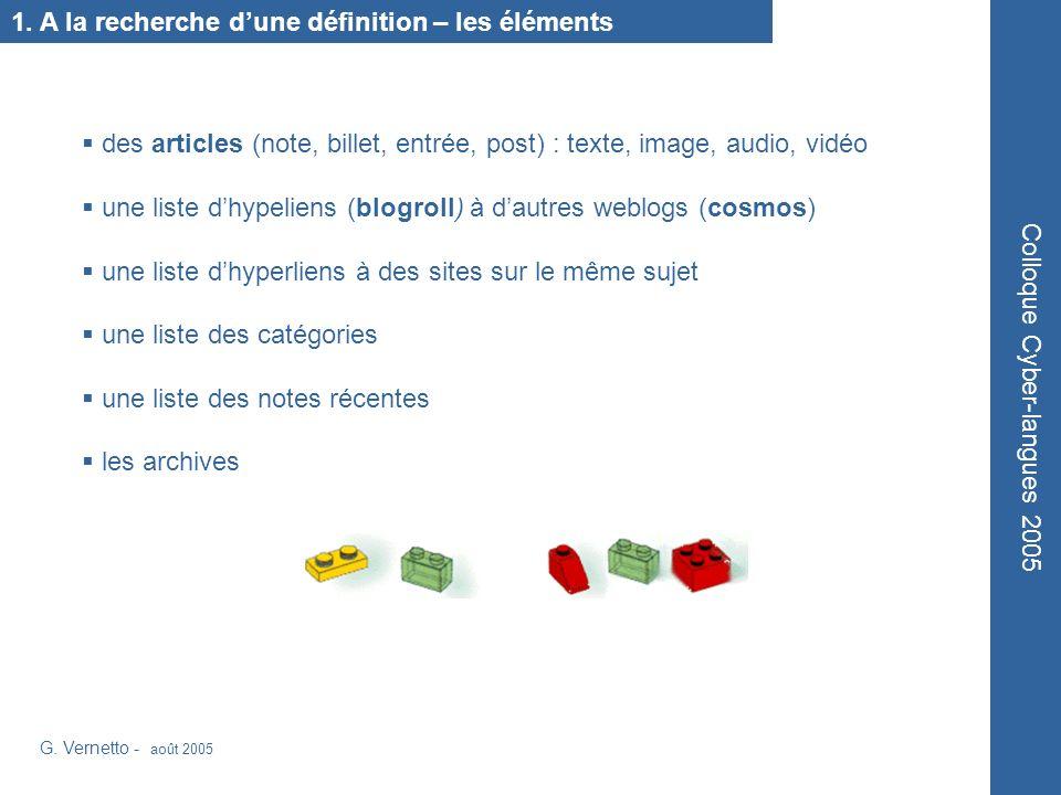 1. A la recherche dune définition – les éléments G.