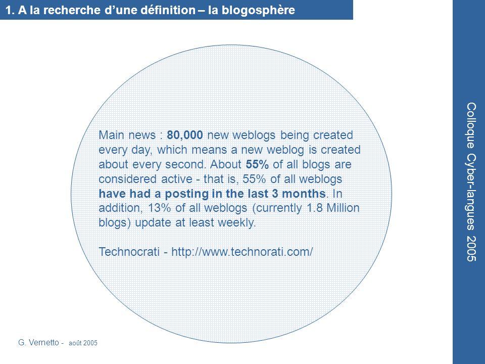 1. A la recherche dune définition – la blogosphère G.
