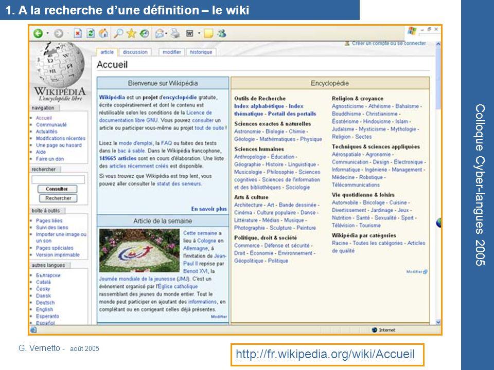 1. A la recherche dune définition – le wiki G.