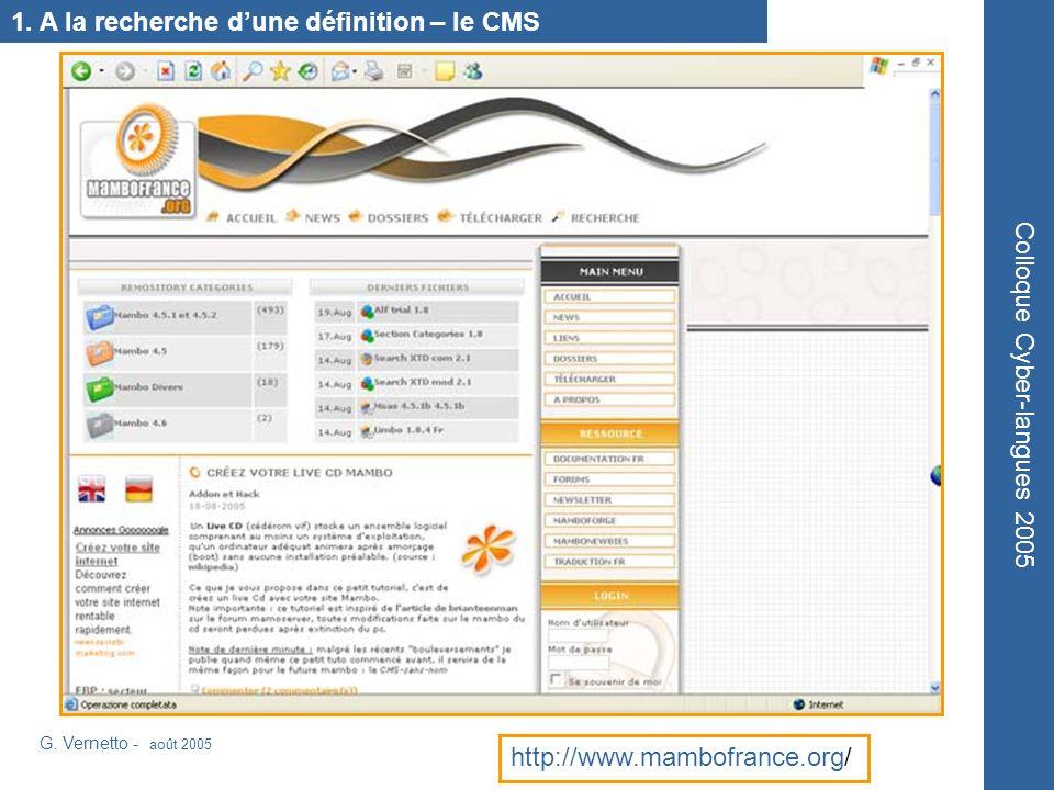 1. A la recherche dune définition – le CMS G.