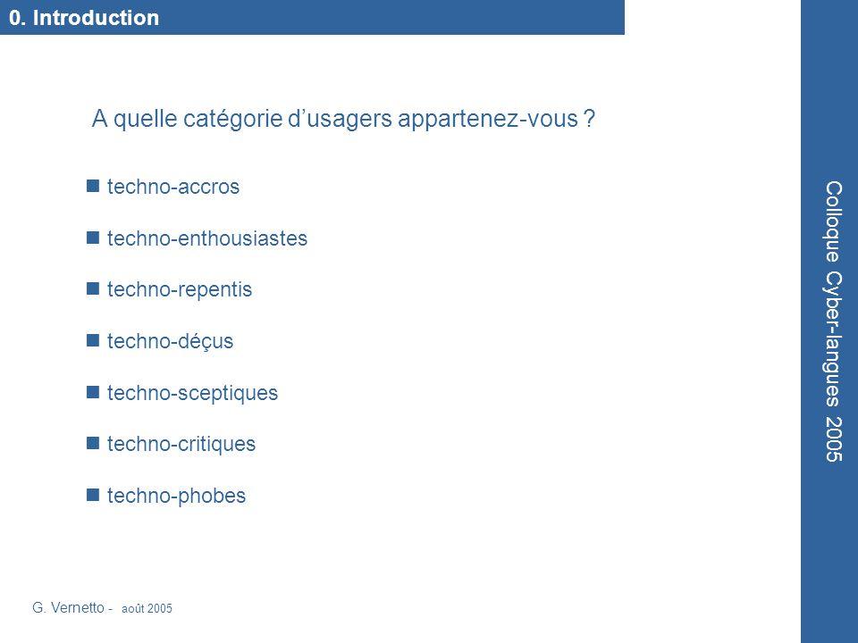 G.Vernetto - août 2005 Colloque Cyber-langues 2005 Atelier n.