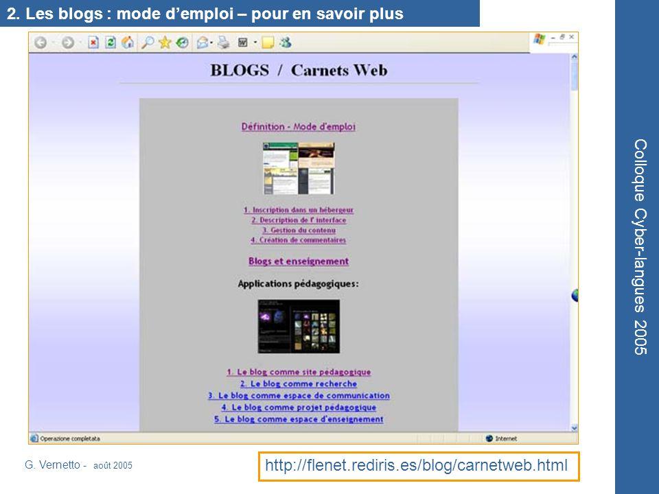 http://flenet.rediris.es/blog/carnetweb.html Colloque Cyber-langues 2005 G. Vernetto - août 2005 2. Les blogs : mode demploi – pour en savoir plus