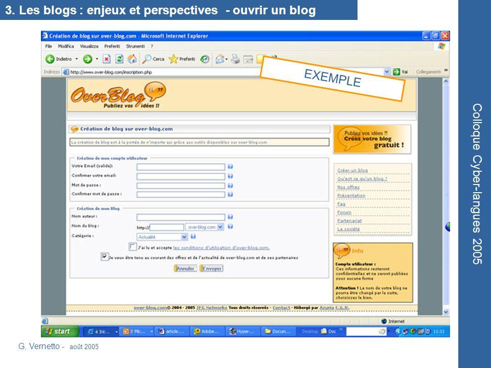3. Les blogs : enjeux et perspectives - ouvrir un blog G.