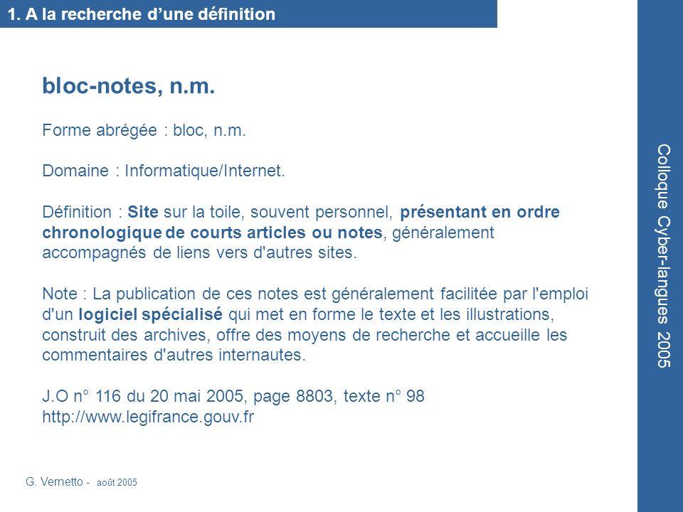 G.Vernetto - août 2005 Colloque Cyber-langues 2005 1.