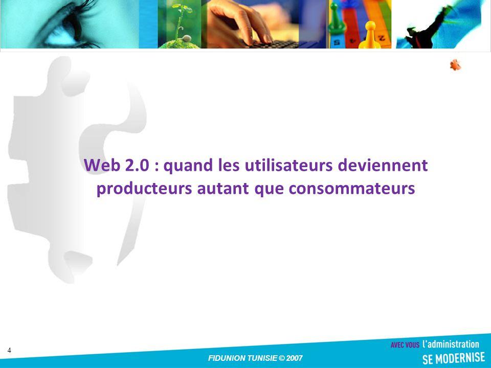 15 FIDUNION TUNISIE © 2007 Que pouvez vous faire avec WIKI WikiCommunauté - construire une CommunautéEnLigne WikiCommunautéCommunautéEnLigne WikiLexique - collaborer pour construire une encyclopédie WikiLexique WikiProjet - collaboration dans un projet réparti : événement comme AutransWiki WikiProjetAutransWiki WikiPersonnel - système d information personnel WikiPersonnel WikiSupport - support des utilisateurs d un produit WikiSupport WikiSchool - plate-forme collaborative pour un cours WikiSchool WikiUniversité - plate-forme de communication pour les étudiants et le personnel d une université WikiUniversité