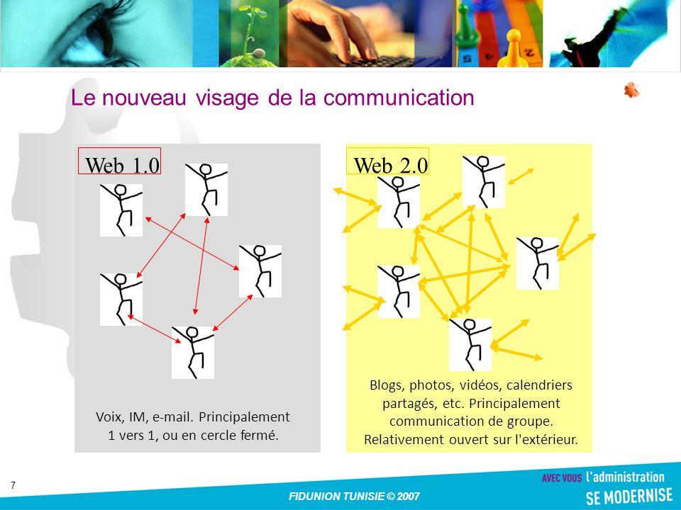 7 Web 2.0Web 1.0 Voix, IM, e-mail. Principalement 1 vers 1, ou en cercle fermé.