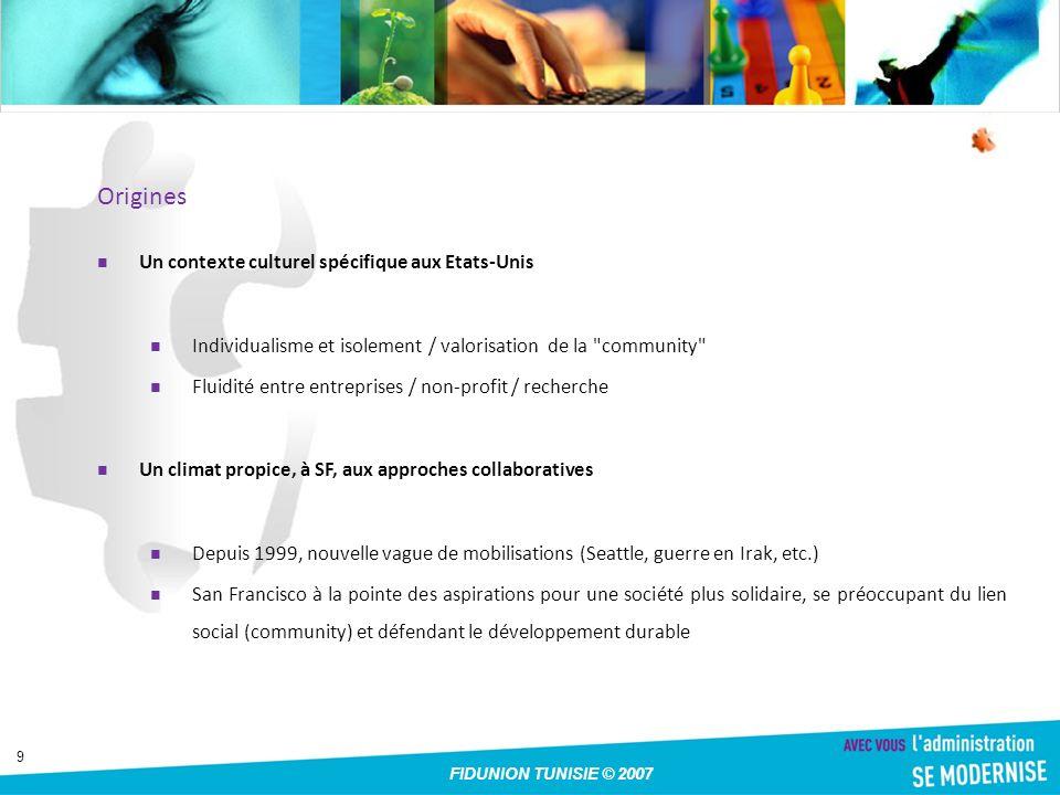 10 FIDUNION TUNISIE © 2007 Exemple dapplication : Partage de photos avec sa famille, ses amis, et au-delà Feedback commentaires, notes, tags, favoris Ouvertes Publication vers la plupart des plateformes de blogs du marché Galaxie dapplis web qui exploitent les données Flickr hors de Flickr