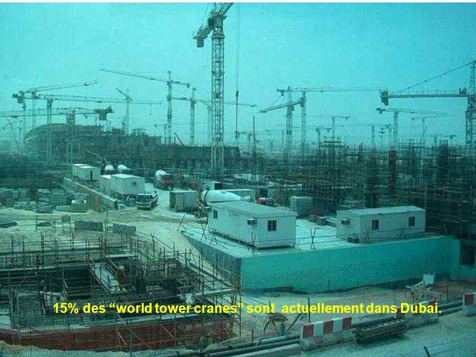 15% des world tower cranes sont actuellement dans Dubai.