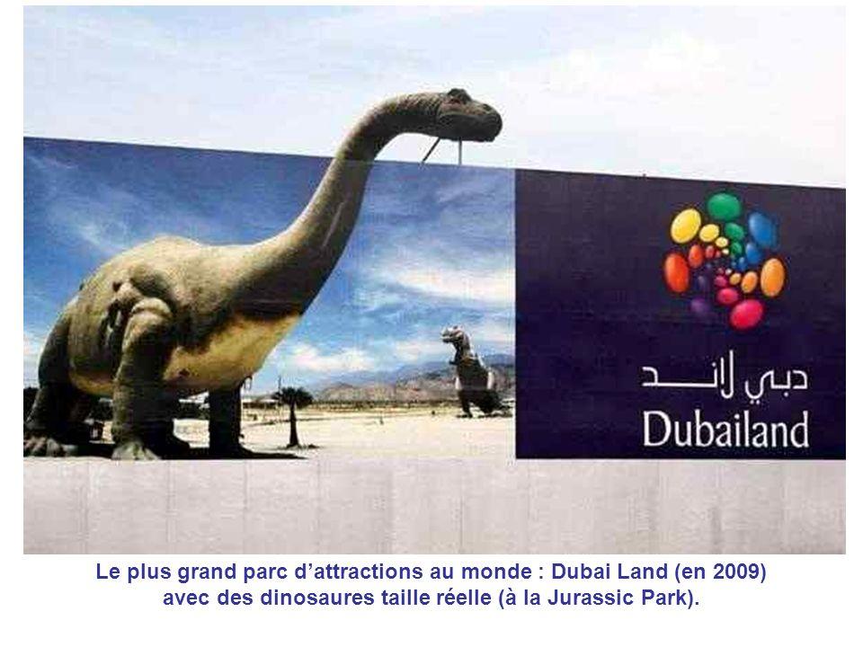 Le plus grand parc dattractions au monde : Dubai Land (en 2009) avec des dinosaures taille réelle (à la Jurassic Park).