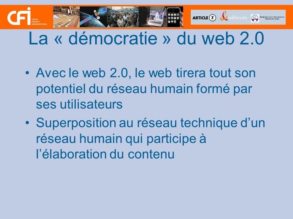La « démocratie » du web 2.0 Avec le web 2.0, le web tirera tout son potentiel du réseau humain formé par ses utilisateurs Superposition au réseau technique dun réseau humain qui participe à lélaboration du contenu