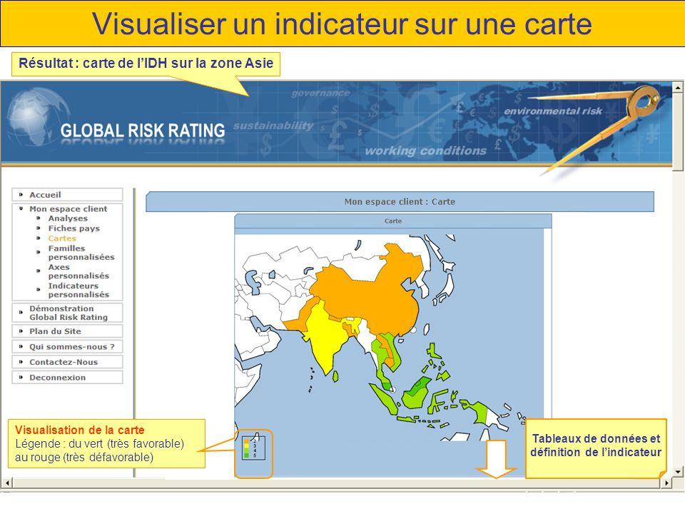 Visualiser un indicateur sur une carte Visualisation de la carte Légende : du vert (très favorable) au rouge (très défavorable) Résultat : carte de lIDH sur la zone Asie Tableaux de données et définition de lindicateur