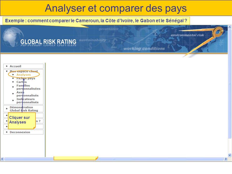 Analyser et comparer des pays Cliquer sur Analyses Type de présentation Choisir la représentation adaptée aux besoins Choix de la représentation Radar Exemple : comment comparer le Cameroun, la Côte dIvoire, le Gabon et le Sénégal ?