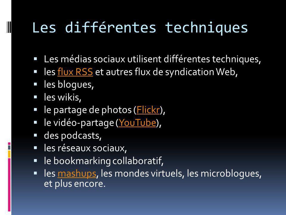 Les différentes techniques Les médias sociaux utilisent différentes techniques, les flux RSS et autres flux de syndication Web,flux RSS les blogues, l