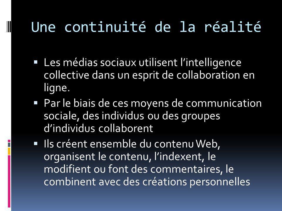Une continuité de la réalité Les médias sociaux utilisent lintelligence collective dans un esprit de collaboration en ligne. Par le biais de ces moyen