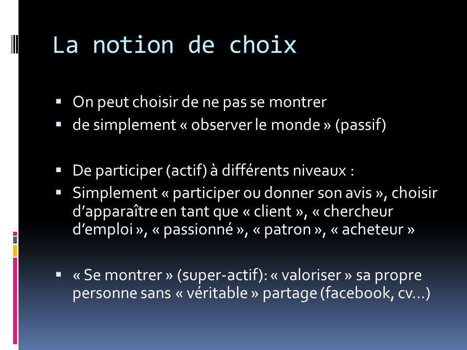 La notion de choix On peut choisir de ne pas se montrer de simplement « observer le monde » (passif) De participer (actif) à différents niveaux : Simp
