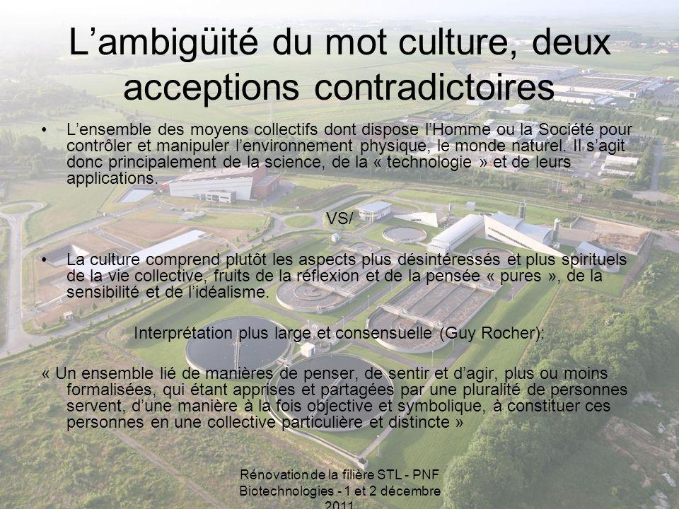 Rénovation de la filière STL - PNF Biotechnologies - 1 et 2 décembre 2011 Lambigüité du mot culture, deux acceptions contradictoires Lensemble des moy