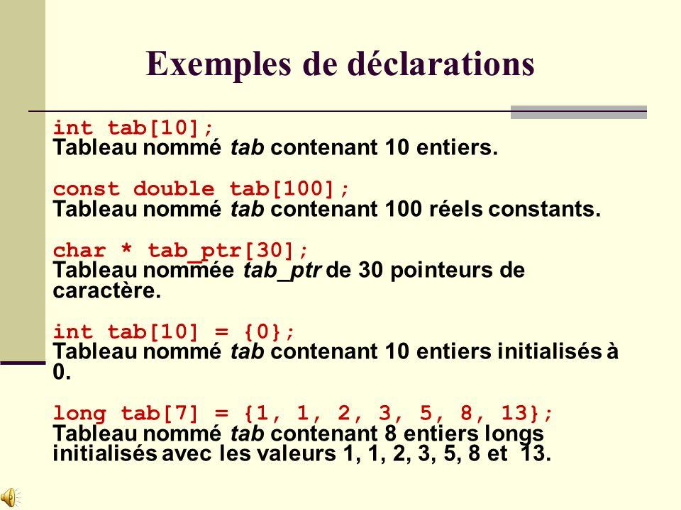 int tab[10]; Tableau nommé tab contenant 10 entiers.