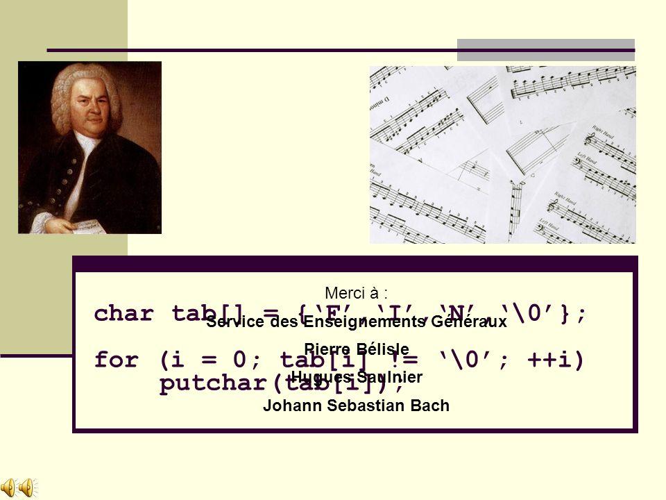 char tab[] = {F,I,N,\0}; for (i = 0; tab[i] != \0; ++i) putchar(tab[i]); Merci à : Service des Enseignements Généraux Pierre Bélisle Hugues Saulnier Johann Sebastian Bach