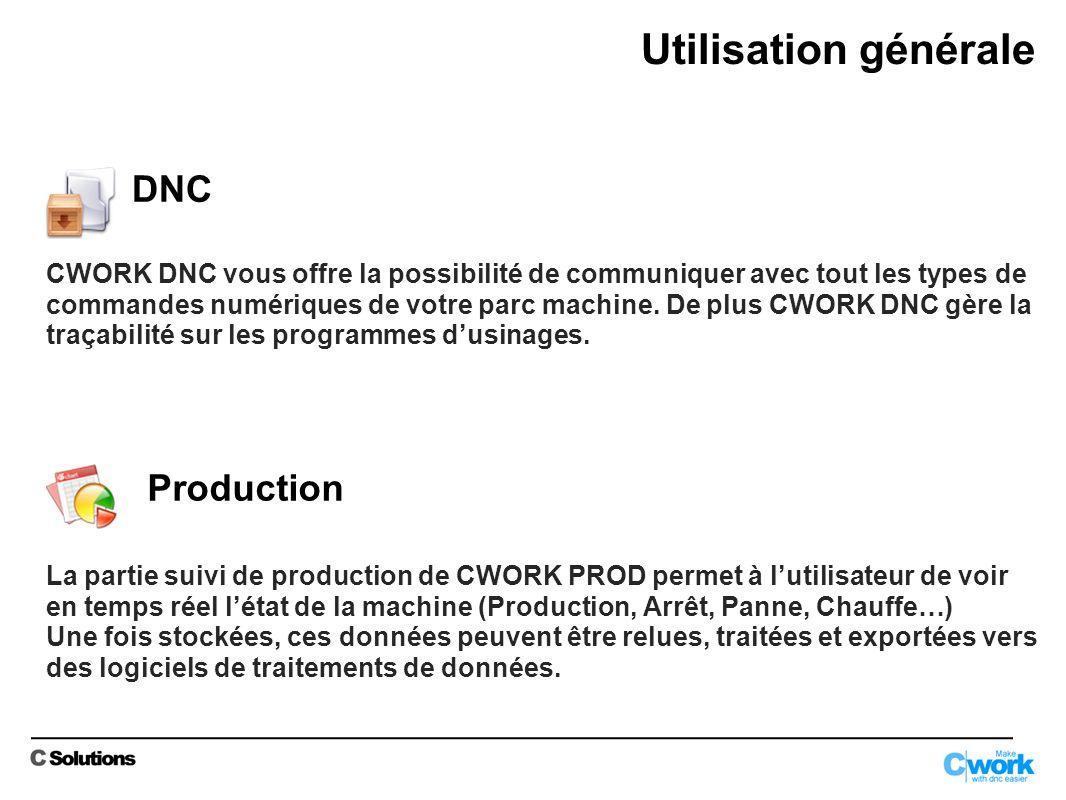Utilisation générale Production DNC CWORK DNC vous offre la possibilité de communiquer avec tout les types de commandes numériques de votre parc machine.