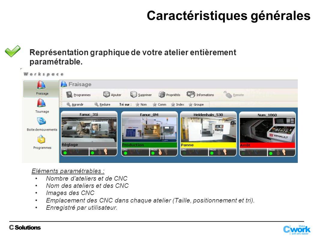 Possibilité de lier des documents joints à un programme dusinage (images, photos, commentaires, Excel, Word, PDF, jauges outils, liens OLE, alarmes…) Caractéristiques DNC