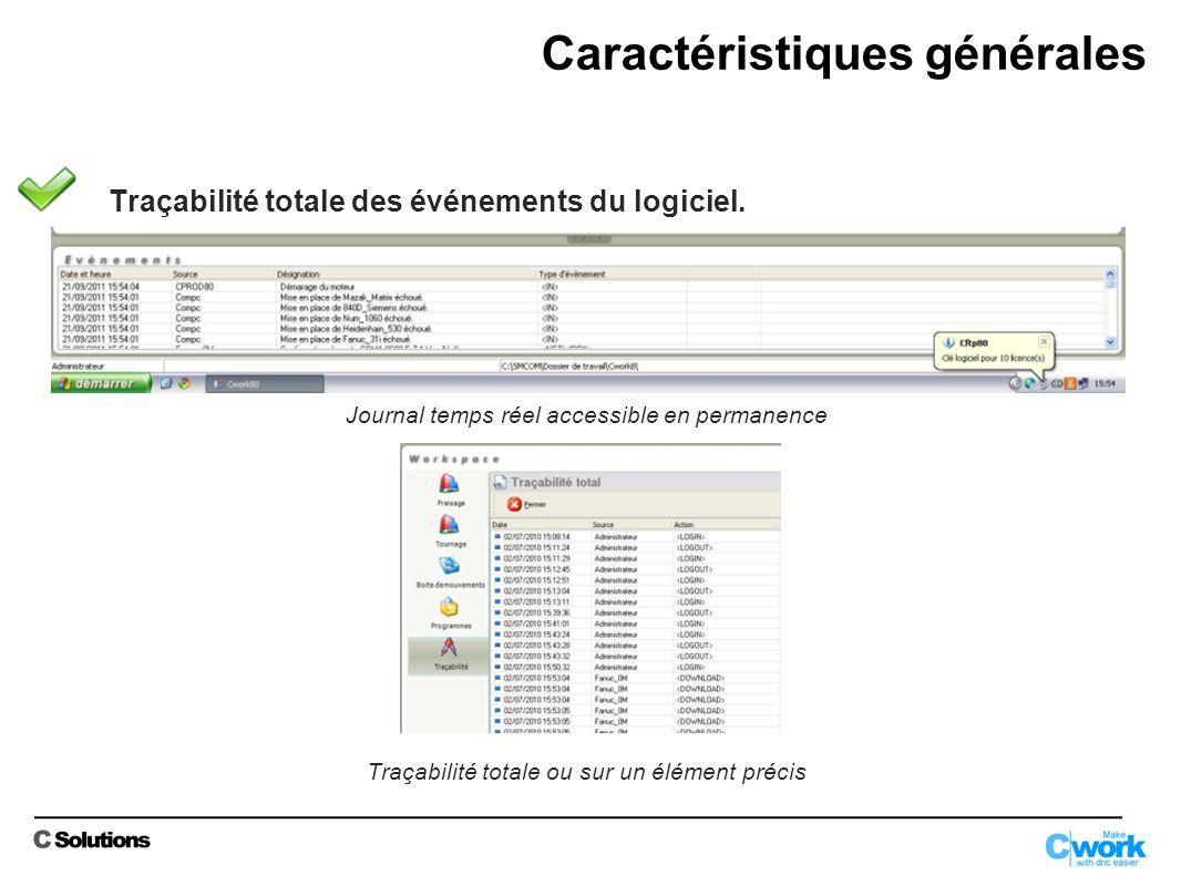 Traçabilité totale des événements du logiciel.