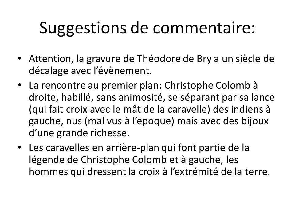 Suggestions de commentaire: Attention, la gravure de Théodore de Bry a un siècle de décalage avec lévènement.