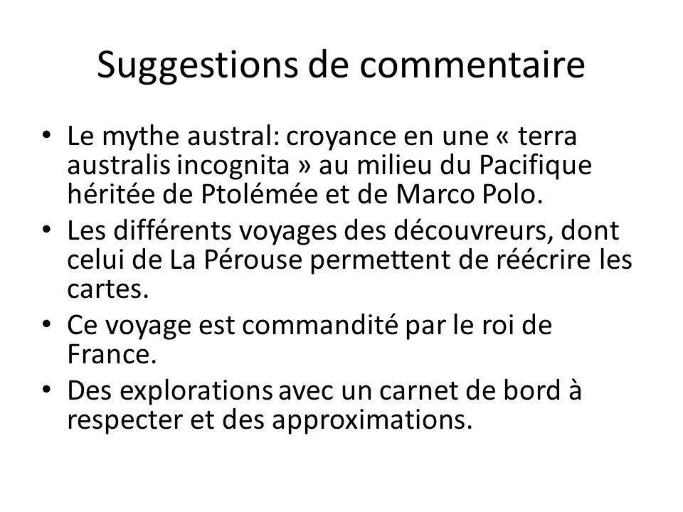 Suggestions de commentaire Le mythe austral: croyance en une « terra australis incognita » au milieu du Pacifique héritée de Ptolémée et de Marco Polo.