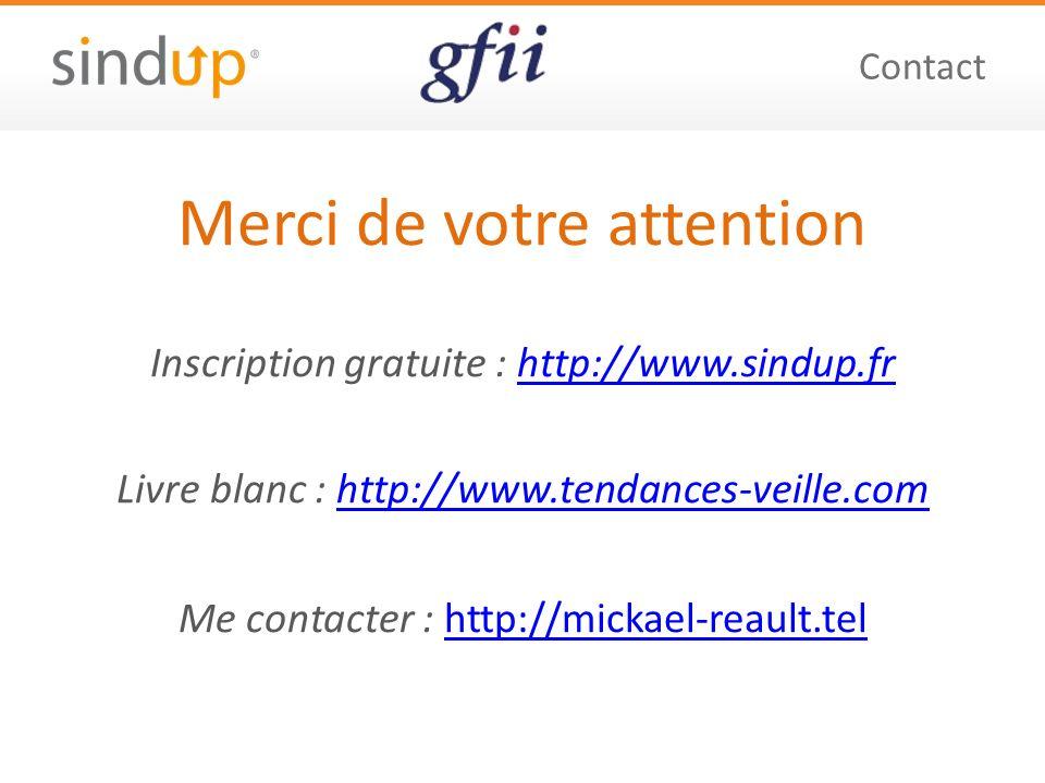 Merci de votre attention Inscription gratuite : http://www.sindup.frhttp://www.sindup.fr Livre blanc : http://www.tendances-veille.comhttp://www.tendances-veille.com Me contacter : http://mickael-reault.telhttp://mickael-reault.tel Contact