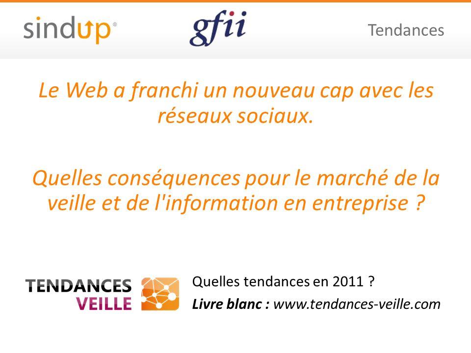 Quelles tendances en 2011 ? Livre blanc : www.tendances-veille.com Tendances Le Web a franchi un nouveau cap avec les réseaux sociaux. Quelles conséqu