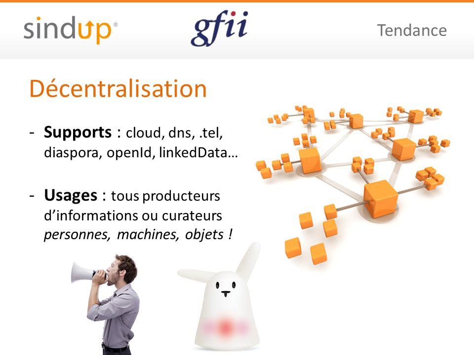 Décentralisation Tendance -Supports : cloud, dns,.tel, diaspora, openId, linkedData… -Usages : tous producteurs dinformations ou curateurs personnes, machines, objets !