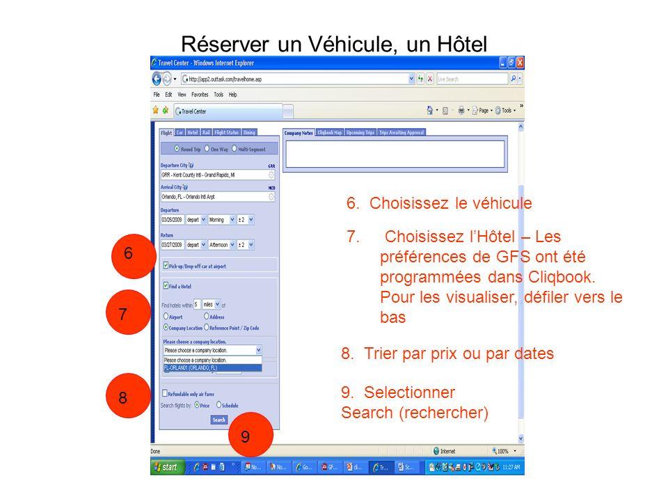 Réserver un Véhicule, un Hôtel 6. Choisissez le véhicule 7. Choisissez lHôtel – Les préférences de GFS ont été programmées dans Cliqbook. Pour les vis